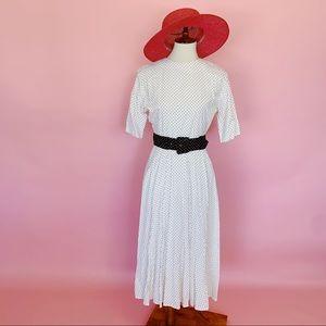 Vtg 80s Polka Dot B&W Midi Belt Dress S M